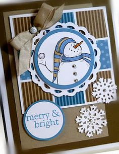 RECIPE: Stamps: Snow Much Fun, All Year Cheer Paper: Soft Suede, Crumb Cake, Marina Mist, Whisper White Ink: Basic Black, Crumb Cake, Marina Mist Accessories: tafetta ribbon, mini brads, dazzling details glitter, glitter brad Tools: Big Shot, Perfect Pennant diecut, circle punches, Northern Frost diecut