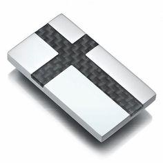 R&B Schmuck Herren Geldklammer Edelstahl & Carbonfaser - Kreuz (Silber, Schwarz): 10,90€