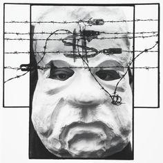 Charles Harbutt, Barbed Nixon, Dachau/Washington, D.C., 1990