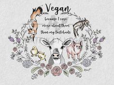 vegan illustration Winnie Wooden Jewelry box with Compassion Affirmation Cards herbivore pig art vegan art