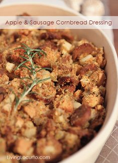 Apple and Sausage Cornbread Dressing ~ A delicious side dish recipe for Thanksgiving or everyday dinner! Recipe at LivingLocurto.com