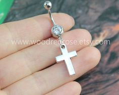 1c63b1c87eaa99 Silver Cross Belly Button RingsCross Navel by woodredrose on Etsy