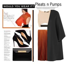 """Pleats n Pumps"" by emcf3548 ❤ liked on Polyvore featuring Topshop, Christian Louboutin, Balenciaga and Valentino"