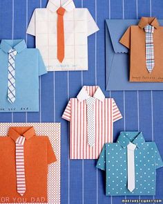 A great DIY project for the dad who has enough ties: a folded shirt Father's Day card.