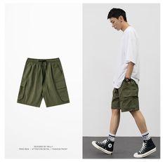 Cargo Pants Outfit Men, Denim Shorts Outfit, Street Style Outfits Men, Men Street Styles, Style Casual, Men Casual, Outfits Hombre, Summer Shorts Outfits, Fashion Pants