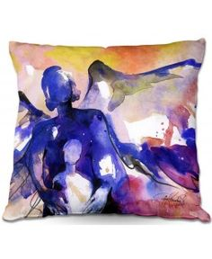 Throw Pillows Indoor Outdoor Decorative Unique Artistic | Angel Mother Child Abstract Religion | Blue White Black Mauve Purple | Kathy Stanion Mother and Child