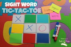 Play to learn with tic-tac-toe! Review sight words, vocabulary, math facts, letters, numbers and more