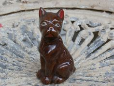 Vintage Brown Boxer Dog Figurine, Japan Red Ware or Redware Miniature Puppy by MendozamVintage on Etsy