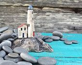 Miniature lighthouse on rocks - OOAK ceramic sculpture for aquariums/terrariums....