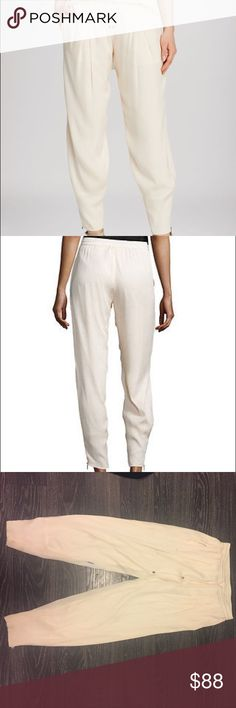 Haute Hippie Silk Track Pants Super cute and in season Haute Hippie track pants. 100% silk wit a drawstring. Small pen stain on the inside seam. Not noticeable when wearing and I haven't tried getting it out 🤷🏼♀️ Haute Hippie Pants