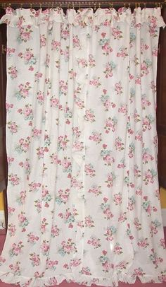 Vintage Victorian Chic French Country Cottage Scroll Floral Drapes ...