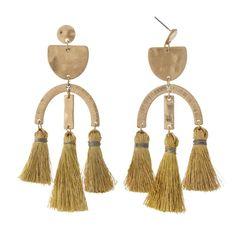 Ibiza Fringe Earrings - Gold Fringe