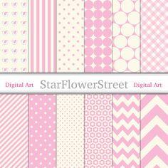 digital paper girl pink baby girl digital paper pack digi chevron polka dot pattern scrapbook download printable cream StarFlowerStreetDA on Etsy: (3.50 USD)