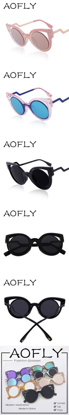 088415414 AOFLY Newest Cat Eye Sunglasses Coating Glasses Eyewear Vintage Fashion  Summer Round Sunglasses Women Brand Design oculos de sol $14.31