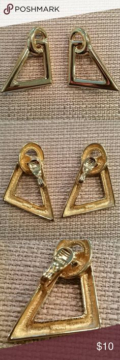 """Vintage Monet gold tone geometric clip on earrings Vintage Monet clip on earrings in a gold tone geometric design. Stamped Monet on earring and clip.  Great, gently worn condition. 1 3/8"""" tall. Monet Jewelry Earrings"""