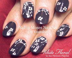 White Flower Nails | Cherry Blossom floral Nail Art Design Tutorial