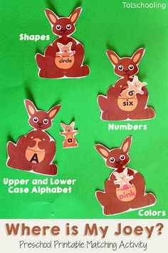 Where is my Joey? Kangaroo Matching Activity- Where is my Joey? Kangaroo Matching Activity FREE kangaroo matching activity for preschool and kindergarten to match letters, colors, number words and shape words. Great activity for Mother& Day! Zoo Animal Activities, Mother's Day Activities, Preschool Learning Activities, Preschool Lessons, Alphabet Activities, Preschool Activities, Math Lessons, Animal Themes, Kids Learning