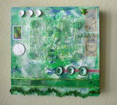 Mixed media collage on canvas.