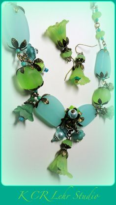 Aqua Blue and Sea Green Sea Glass and Lucite by KCRlehrstudio, $35.00
