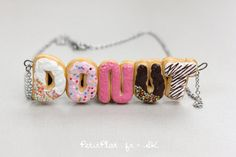 Custom Initials Necklace with Donuts - Colorful Words by PetitPlat on Etsy https://www.etsy.com/listing/208986594/custom-initials-necklace-with-donuts