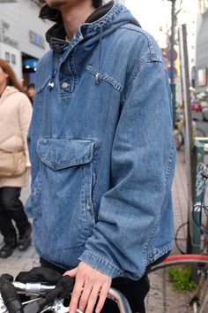 Over-the-head denim anorak on the street of Tokyo spotted by our... Men