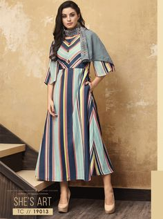 A Bunch Of Muslin Full Length Stylish Kurthi With Scarf Set. LKFABKART is a wholesale party wear kurti with scarf at bulk rates. Indian Designer Outfits, Indian Outfits, Indian Clothes, Designer Wear, Designer Dresses, Multi Way Dress, Traditional Sarees, Indian Wear, Party Wear