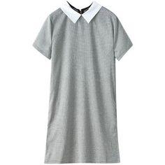 Contrast-collar Short-sleeved Houndstooth Dress