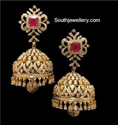 Diamond Necklace and Jhumkas Set - Indian Jewellery Designs Gold Jhumka Earrings, Jewelry Design Earrings, Gold Earrings Designs, Big Earrings, Diamond Pendant Necklace, Diamond Earrings, Diamond Jewellery, Diamond Necklaces, Gold Necklaces