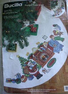 "Bucilla Stamped Cross Stitch Christmas Tree Skirt Santa's Visit Kit 44"" Round | eBay"