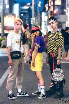 "Noa (left), Mawoni (middle), & ""Billimayu"" (right, fashion designer) - all 15 years old & students | 12 December 2017 | #couples #Fashion #Harajuku (原宿) #Shibuya (渋谷) #Tokyo (東京) #Japan (日本)"