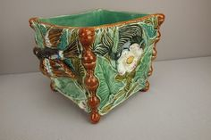 French majolica square jardiniere with bird handle
