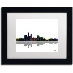 Trademark Fine Art Des Moines Iowa Skyline II Canvas Art by Marlene Watson White Mat, Black Frame, Size: 16 x 20