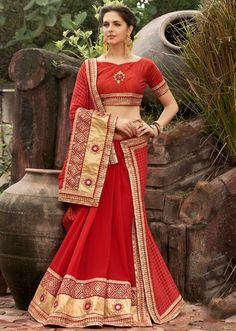 Tantalizing Red Designer Saree