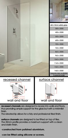 Wetroom and Walk In Glass Shower Panel, Screen, Partition and Divider