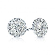 14k White Gold Halo Round Diamond Stud Earrings 1.50 ct. tw. (G-H, VS2)