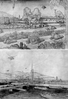 Renderings of Frank Lloyd Wright's Broadacre City.  Wright envisioned decentralized, low-density cities spanning the United States.