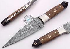 "8.75"" Custom Made Beautiful Damascus steel boot dagger Knife (AA-0323-2) #UltimateWarrior"