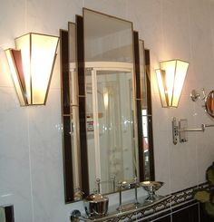 art-deco-mirror and -lamp-shades-. Lampe Art Deco, Art Deco Decor, Mirror Lamp, Art Deco Mirror, Mirrors, Motif Art Deco, Art Deco Design, Art Deco Spiegel, Art Nouveau