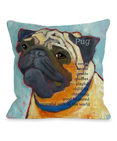 Look at this Light Blue Pug Throw Pillow on #zulily today!