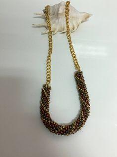 collar espiral bronce y dorado, collar cadena dorada, collar bronce y dorado, collar abalorios, collar abalorios, collar espiral y cadena de ElcofredeMon en Etsy