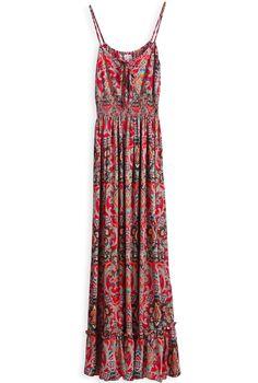 Vestido floral larga plisado correa de espagueti-Rojo EUR18.37 www.sheinside.com