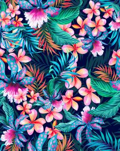 tropical house plant Primavera Tropical l Estampas Digitais on Behance - Gardening Seasons Flower Wallpaper, Pattern Wallpaper, Wallpaper Backgrounds, Iphone Wallpaper, Tropical Wallpaper, Botanical Wallpaper, Print Wallpaper, Print Texture, Textures Patterns