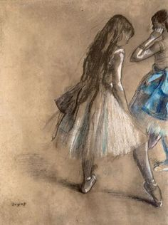 Two Dancers : Edgar Degas This is actually a pastel drawing not a painting, in his later years if his career he mainly drew with pastels instead of paint. Degas is a fav Edgar Degas, Pierre Auguste Renoir, Edouard Manet, Pastel Drawing, Painting & Drawing, Pastel Watercolor, Art Ancien, Pics Art, French Artists