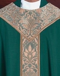 Strasbourg Chasuble: green liturgical vestment for priest or deacon Strasbourg, Custom Items, Green And Gold, Clothes, Outfits, Clothing, Kleding, Outfit Posts, Coats
