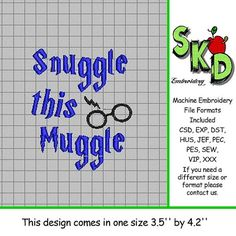 Harry Potter Inspired Machine Embroidery Design  Snuggle this