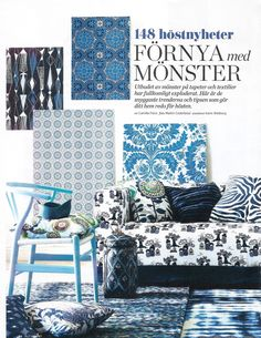 Klippan sofa from IKEA with a Kokeshi Blue/White cover by Bantie from the Bemz Designer Collection, featured in Swedish Allt i Hemmet nr 12 2012.