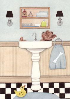 Yorkshire terrier (yorkie) bathing in a sink / Lynch signed folk art print on Etsy, $12.99