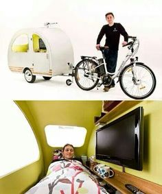 Bicycle campers: 12 models for mobile people / bike campers: 12 mini mobile .,Bicycle campers: 12 models for mobile people / bike campers: 12 mini mobile homes for nomadic cyclists. Bus Camper, Mini Camper, Camper Trailers, Velo Cargo, Materiel Camping, Teardrop Trailer, Tiny House Design, Happy Campers, Cool Bikes