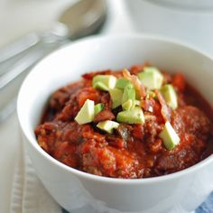 Bacon Chili Delicious paleo chili, filled with veggies and bacon of course! Perfect for these cold wintry nights.