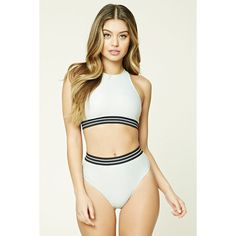 Forever21 High-Waisted Bikini Bottoms ($18) ❤ liked on Polyvore featuring swimwear, bikinis, bikini bottoms, silver, high waisted two piece, metallic swimwear, swim tops, forever 21 and high rise bikini bottoms